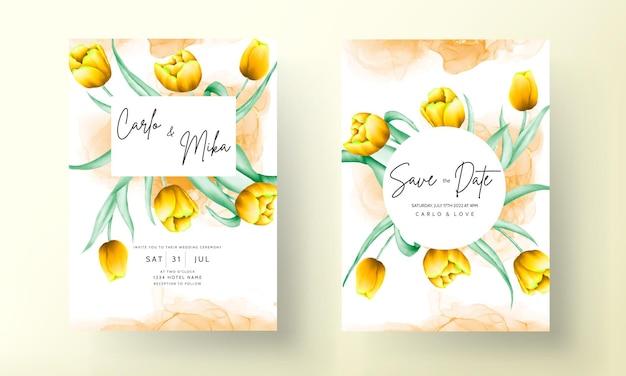 아름다운 노란색 수채화 튤립 꽃과 청첩장
