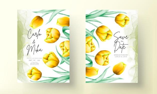 美しい黄色の水彩チューリップの花と結婚式の招待状
