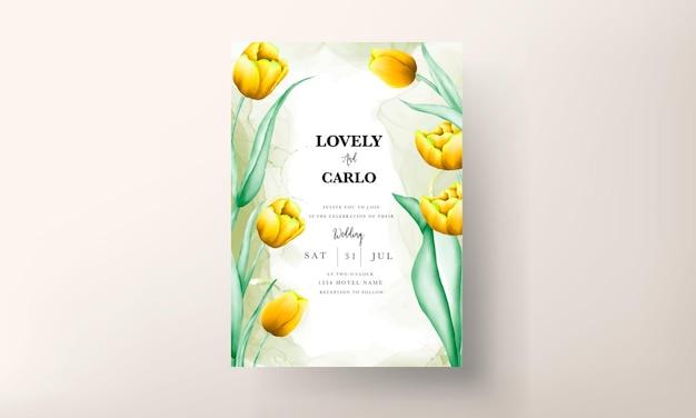 Invito a nozze con bellissimo fiore di tulipano giallo acquerello