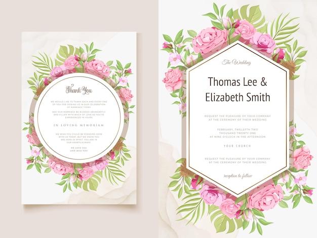 美しい花と葉のテンプレートと結婚式の招待状