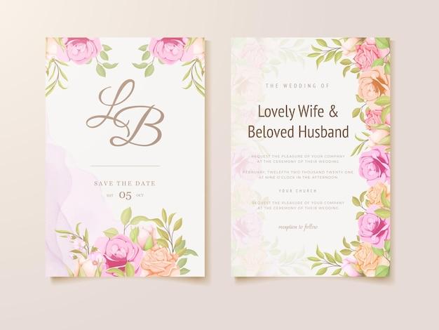 美しい花のコンセプトテンプレートデザインと結婚式の招待状