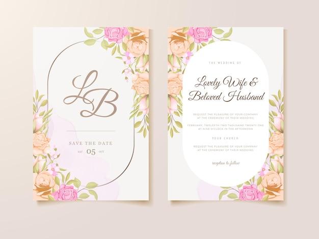 美しい花のテンプレートデザインと結婚式の招待状