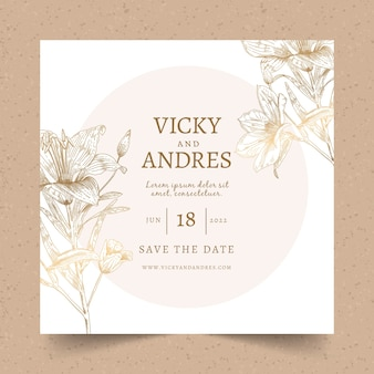 Wedding invitation with a big flower template