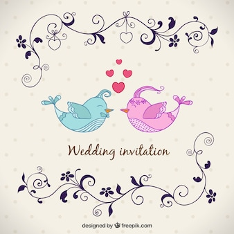 Wedding invitation with birds