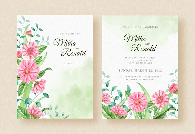Wedding invitation with bloom of pink lowers and leaves watercolor background