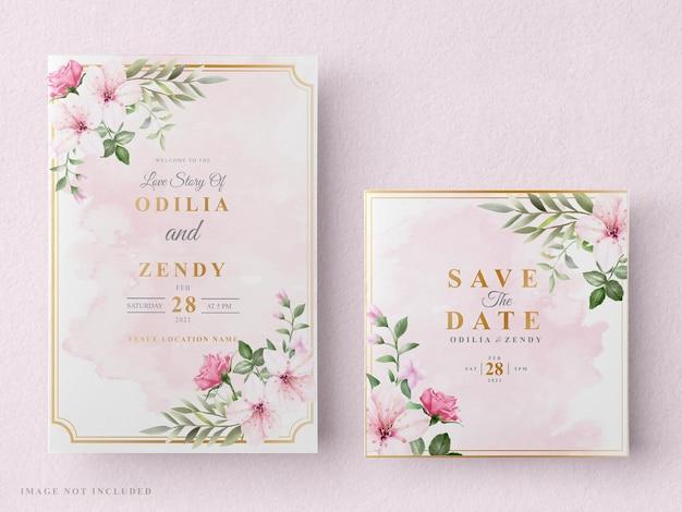 Свадебное приглашение с цветком и розами акварельный дизайн