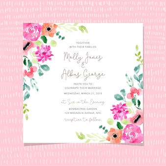 Wedding invitation with blossom floral frame watercolor