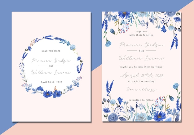 Wedding invitation with blue floral watercolor