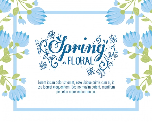 Wedding invitation with blue flowers and leaves