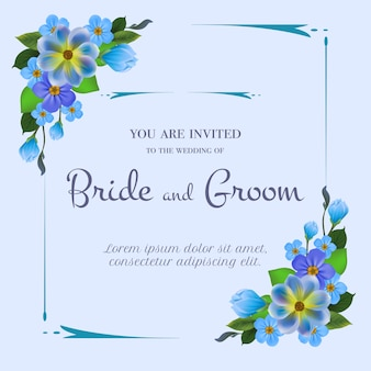 Wedding invitation with blue flowers on light blue background.