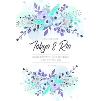 Wedding Invitation with Blue Flowers