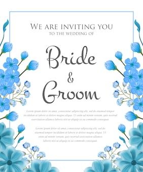 青いフレームと花の結婚式招待状