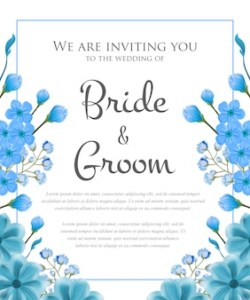 Wedding invitation with blue frame and flowers