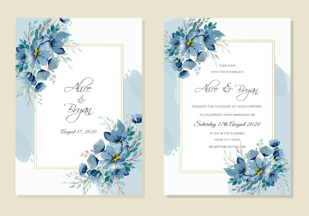 Wedding invitation with blue green floral watercolor