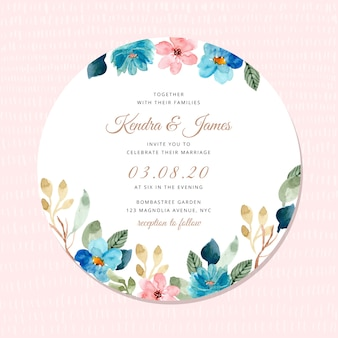Wedding invitation with blue pink floral frame watercolor
