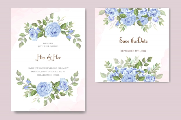 Wedding invitation with blue rose