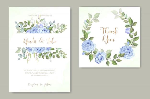 青いバラの結婚式の招待状