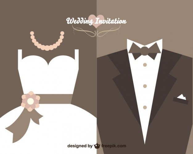 Wedding invitation with bride dress and wedding suit