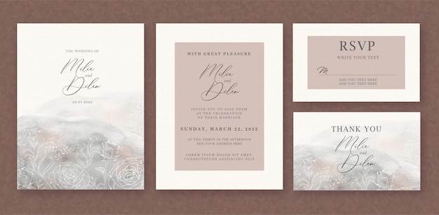 Wedding invitation with brushes watercolor background and floral lines template