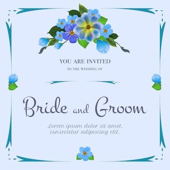 淡い青色の背景に青い花の束と結婚式の招待状。