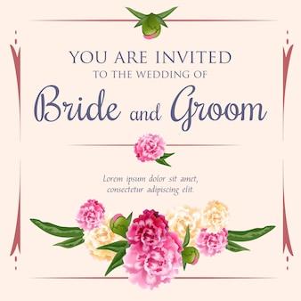 ピンクの背景に牡丹の束と結婚式の招待状。