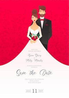 Wedding invitation with characters