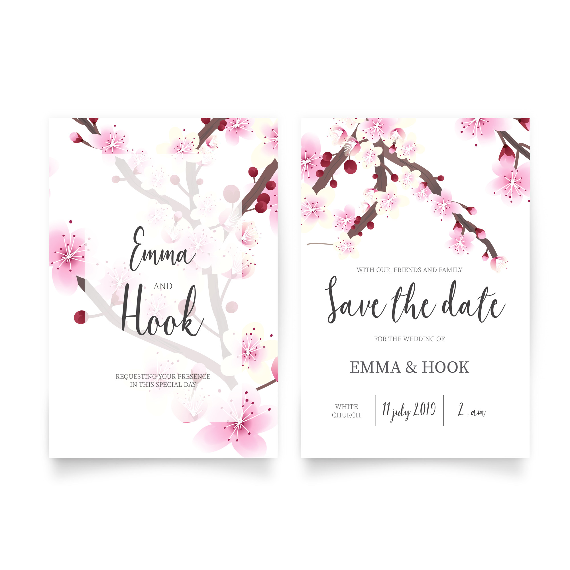 Wedding Invitation with Cherry Blossom Flowers
