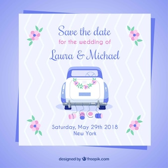 Wedding invitation with classic car and flowers