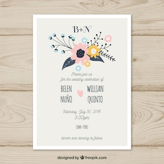 Wedding invitation with clorful flowers