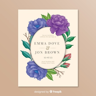 Wedding invitation with colored flowers frame