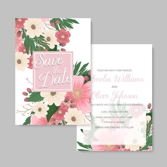 Wedding invitation with colorful flower.