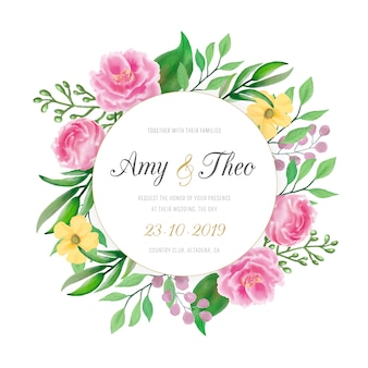 Wedding invitation with colorful watercolor flowers