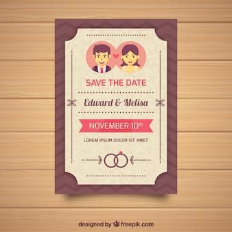 Свадебное приглашение с парой и кольцами
