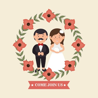 Wedding invitation with couple and crown flowers design