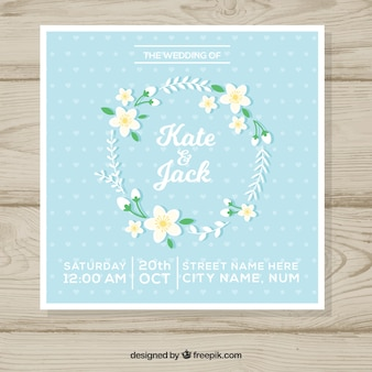 Wedding invitation with crown of jasmine