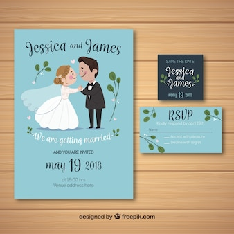 Wedding invitation with cute couple in hand drawn style
