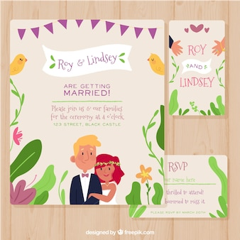 Wedding invitation with cute couple in love