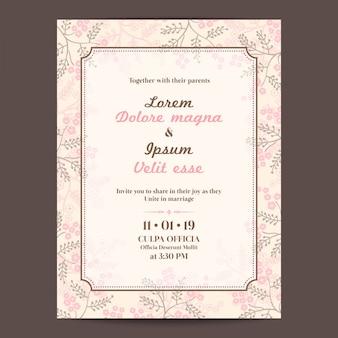 Rosa carta di invito a nozze con il bordo floreale e cornice