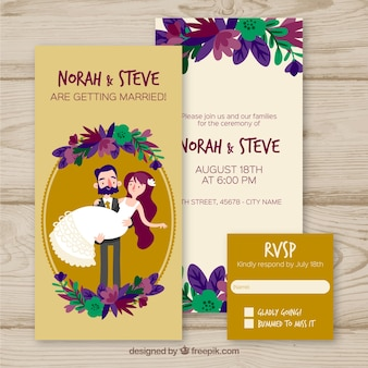Wedding invitation with cute couples