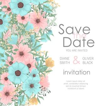 Wedding invitation with cute flowers