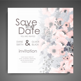 Wedding invitation with cute flowers