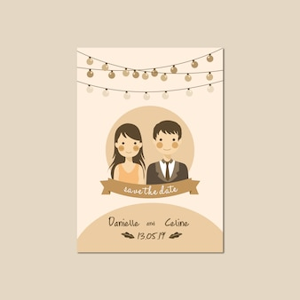 Wedding invitation with cute portrait couple