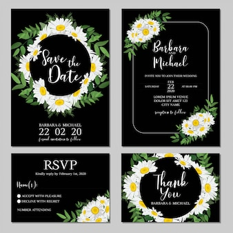 Wedding invitation with daisy flower bouquet