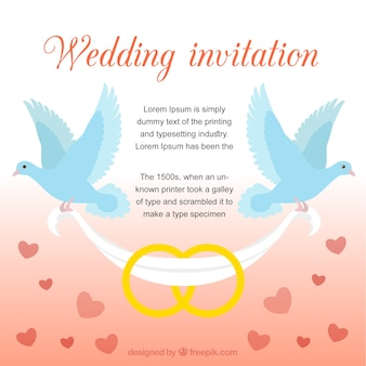 Wedding invitation with doves