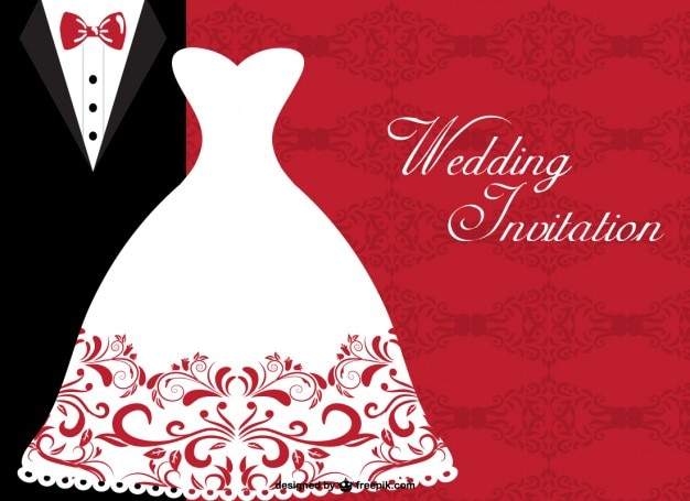 Wedding invitation with elegant bride dress and wedding suit