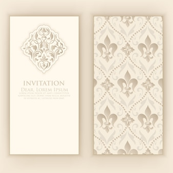Wedding invitation with elegant damask decoration