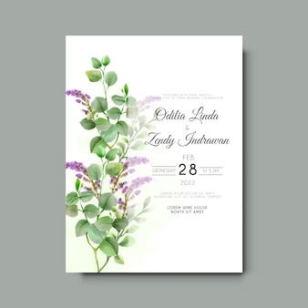 Wedding invitation with elegant eucalyptus and lavender watercolor