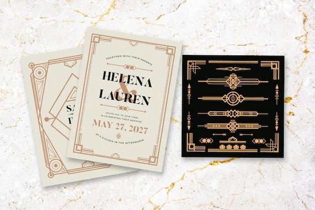 Wedding invitation with elegant theme
