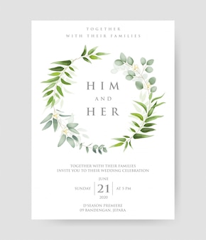 Wedding invitation with eucalyptus branches decorative wreath & frame pattern.