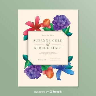 Wedding invitation with exotic flowers frame